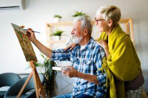 Artistic Senior Couple Painting
